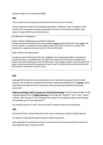 AQA Literature Paper 1 (Shakespeare and 19th Century novel) marking support document