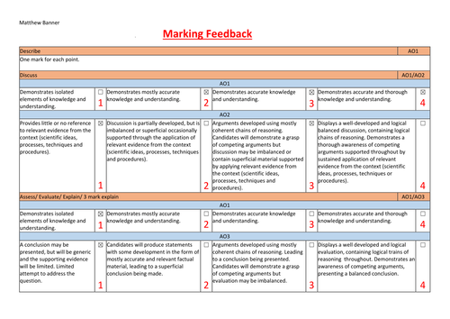 Psychology AQA A LEVEL AND GCSE Marking Sheet