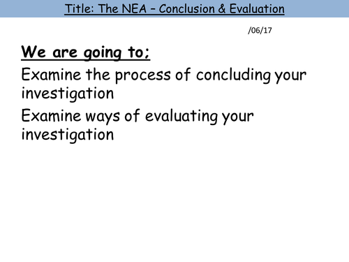 9. Conclusion and Evaluation [A-Level Non-Examined Assessment (NEA)]
