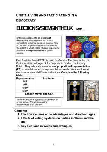 WJEC AS Level Government and Politics Unit 2 topic Election Systems