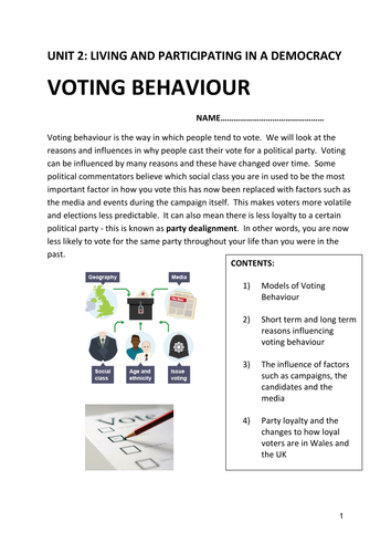 WJEC AS Government and Politics 2017 Specification Unit 2 topic Voting Behaviour