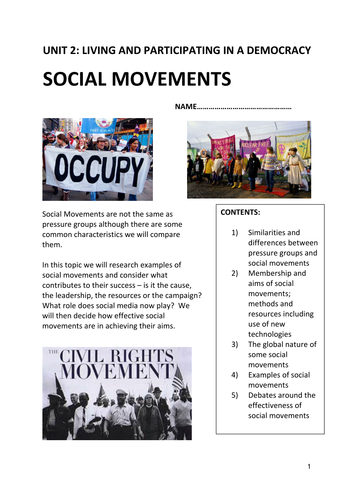 WJEC AS Government and Politics 2017 specification topic Social Movements