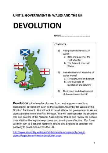WJEC AS Government and Politics 2017 specification Unit 1 topic Devolution in the UK