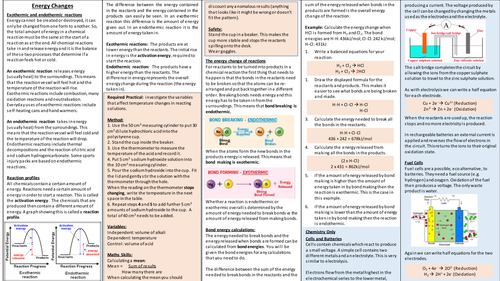 Energy Changes Unit One Page Summary / Knowledge Organiser (AQA)