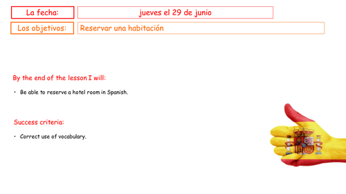 GCSE Spanish: Making a hotel reservation