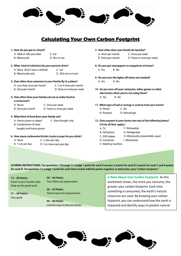 Carbon Footprint By Alisoncarrie Teaching Resources