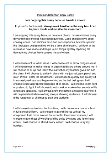 isolation exclusion detention copy essay by sarah gresham isolation exclusion detention copy essay by sarah gresham teaching resources tes