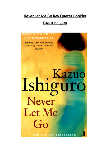 Never Let Me Go Key Quotes Booklet