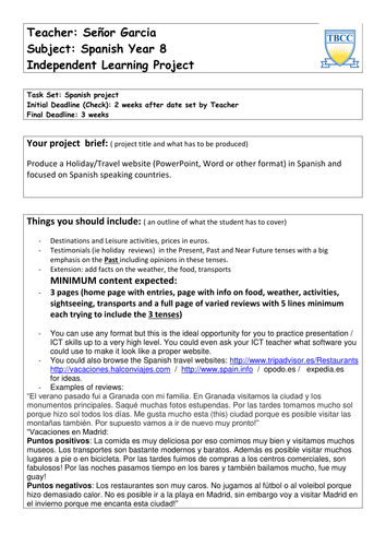 Spanish Holidays homework project
