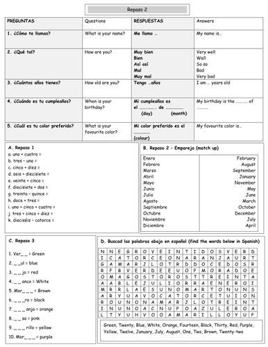 Spanish basics Y7