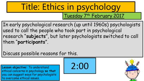 AQA GCSE Psychology - Experimental Research Methods: Ethics