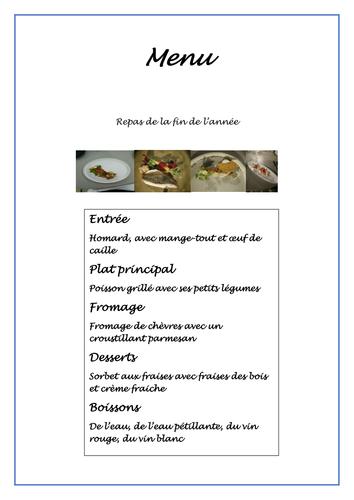 Celebration menu