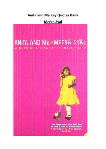 Anita and Me Key Quotes Booklet