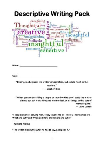 Creative writing booklet: description