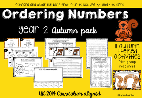 Yr2 Ordering Numbers Autumn Pack UK Curriculum 2014