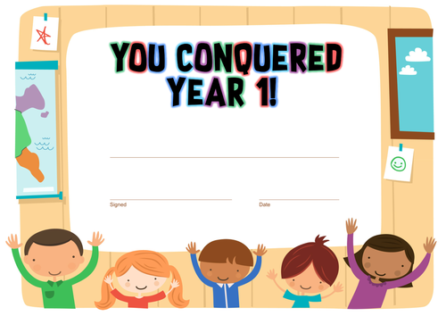 """""""You Conquered Year 1"""" End of Year Certificate"""