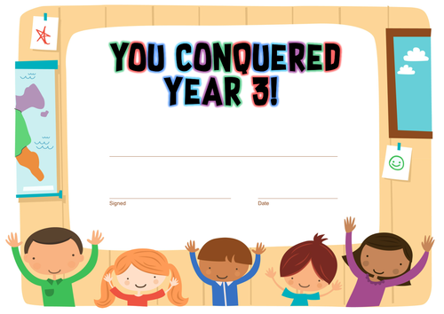 """""""You Conquered Year 3"""" End of Year Certificate"""