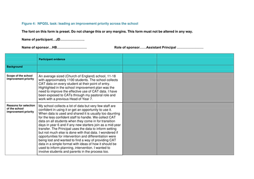 Great NPQSL combined task completed sponsor form