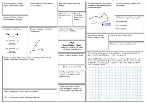 AQA Trilogy Science (9-1) Physics 5 Forces Revision Broadsheets