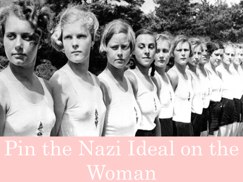 Pin the Nazi Ideal on the Woman - Nazi Women game