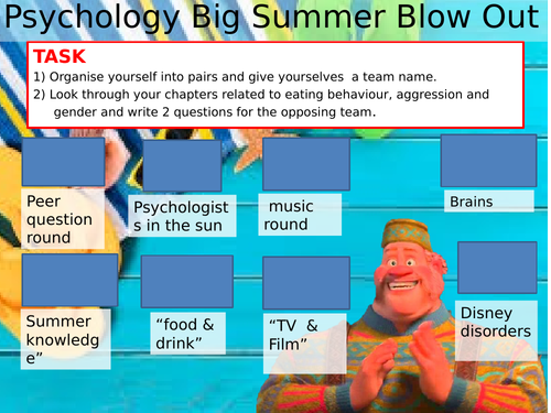 Psychology Summer quiz