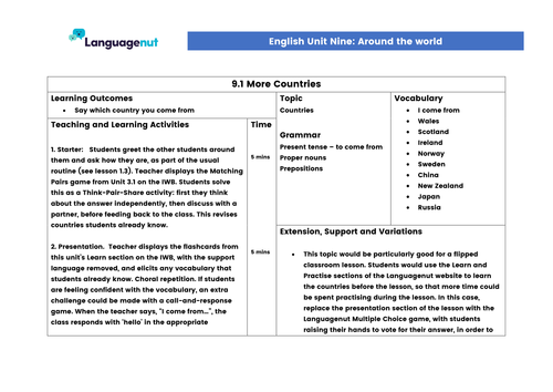 Languagenut Lesson Plans & Resources - English / General - Unit 9 - Around the world