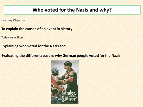 why people voted for the nazi Was hitler democratically elected people who say that hitler wasn't really elected they only got about one third of the vote), but hitler wasn't.