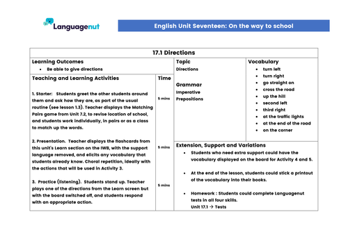 Languagenut Lesson Plans & Resources - English / General - Unit 17 - On the way to school