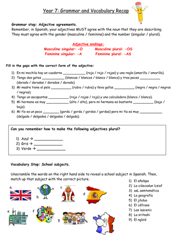 Year 7 Spanish: End of Year Revision and Recap