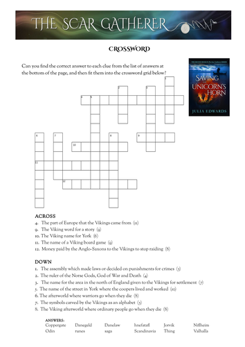 Viking Britain crossword and word search