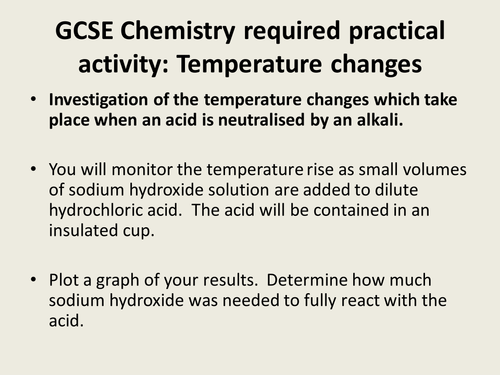 GCSE required practical changing temperatures