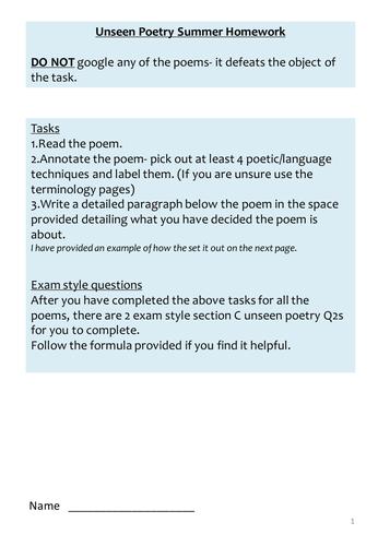 Eduqas Unseen Poetry