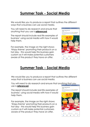 NQF BTEC Level 3 - Unit 3 Summer Task