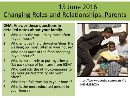 Sociology H580 / H180 Parent Roles and Relationships and how they change + homework