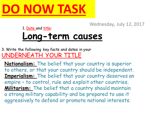 Long-Term Causes of WW1 - Source-Based Lesson