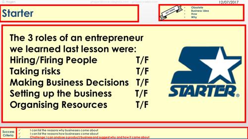 Full Set of Lessons for 1.1 Enterprise and Entrepreneurship 9-1 Edexcel GCSE Business
