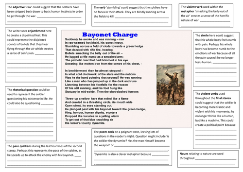bayonet charge multiple interpretations analysis worksheet by sjl123 teaching resources. Black Bedroom Furniture Sets. Home Design Ideas