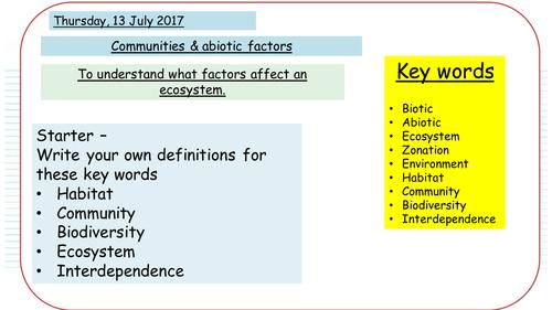 Communities & Abiotic factors - NEW AQA GCSE