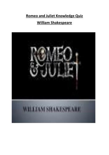 Romeo and Juliet Knowledge Quiz