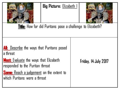 AQA 8145 Elizabeth I - Puritan threats