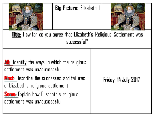 AQA 8145 Elizabeth I - How successful was the Religious Settlement?