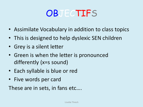 French basic vocabulary 32 cards for SEN