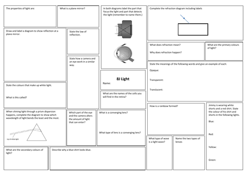 KS3 Unit 8J Light Exploring Science Revision broadsheet