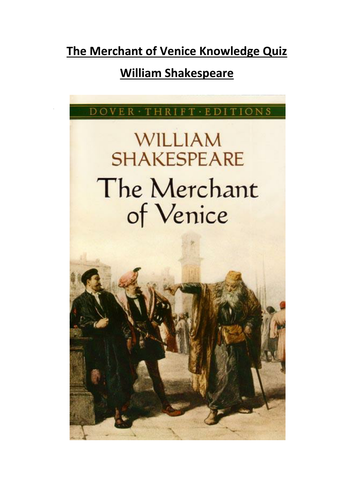 The Merchant of Venice Knowledge Quiz