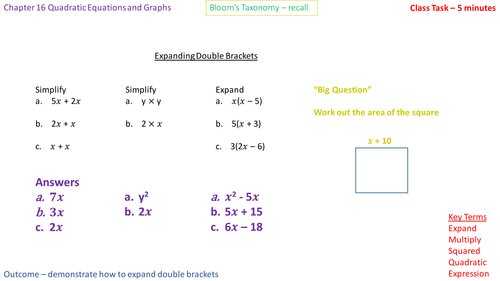 16.1a - Expanding two brackets of the form (x + a)(x + b) - Problem Solving