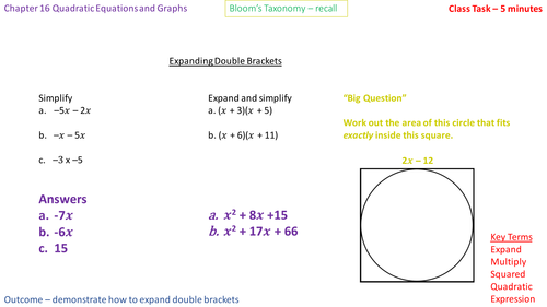 16.1b - Expanding double brackets of the form (x - a)(x - b) - Problem Solving