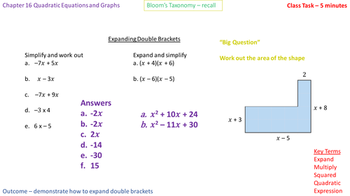 16.1c - Expanding double brackets of the form (x + a)(x - b) - Problem Solving