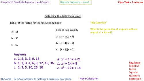 16.4a - Factorising into (x + a)(x + b)