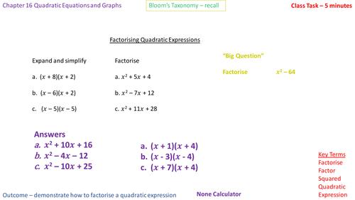 16.4c - Factorising into (x + a)(x - b)