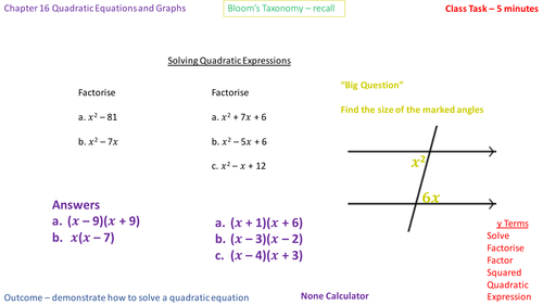 16.5a - Solving quadratic equations of the form x^2 + bx = 0 and x^2 - a^2 = 0